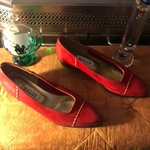 Women's BALLY Heeled Loafers Red/Gold Size 7 $425